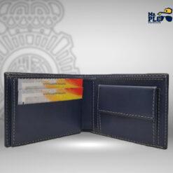 cartera porta plaza azul con monedero