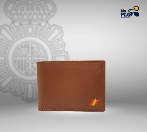 cartera portaplaca marrón
